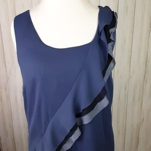 Ann Taylor Purple Tank Top Ruffle Large